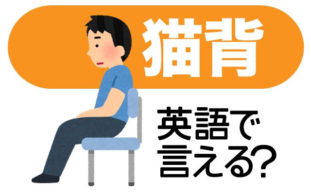 背中や肩が丸まってしまう【猫背】は英語で何て言う?