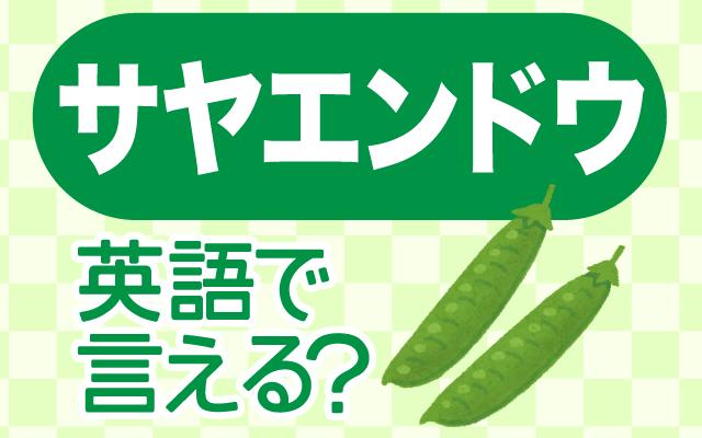 食卓に彩りを添える【サヤエンドウ】は英語で何て言う?